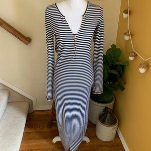 Free people beach black white striped maxi dress L